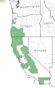 Distribution of Western Azalea from USDA Plants Database