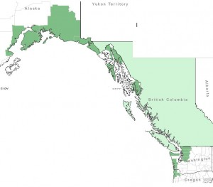 Distribution of Copperbush from USDA Plants Database