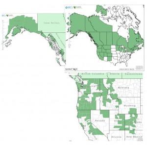 Distribution of Dwarf Bilberry from USDA Plants Database