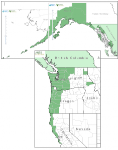 Distribution of Salmonberry from USDA Plants Database